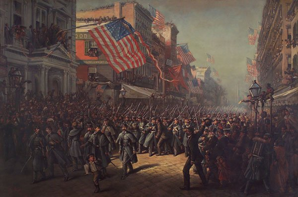 Artist Thomas Nast painting of the 7th Regiment's departure on April 19, 1861, from New York City.