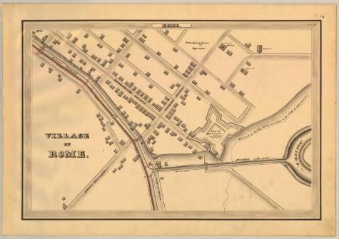 This is the map from the New York State Archives; it is an ink wash, and charcoal rendering of the Rome Canal and its environs.  (Source: New York State Archives, A0848-77, Canal System Survey Maps, 1832-1843, Map no. E7-54)