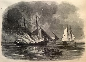 Newspaper Drawing of The Battle of Portland Harbor.