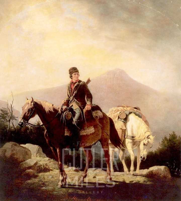 A painting of Squire Boone as a pioneer, who was the founder of Painted Stone Station.