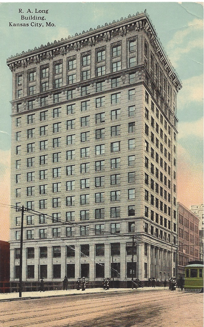 Early postcard of the R. A. Long Building. It was notably the first steel frame tower constructed in Kansas City. Image obtained from Squeezebox.