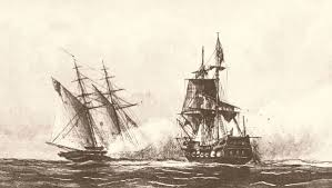 This drawing depicts the USS Enterprise fighting against the Tripolitan polacca Tripoli by William Bainbridge Hoff, 1877.