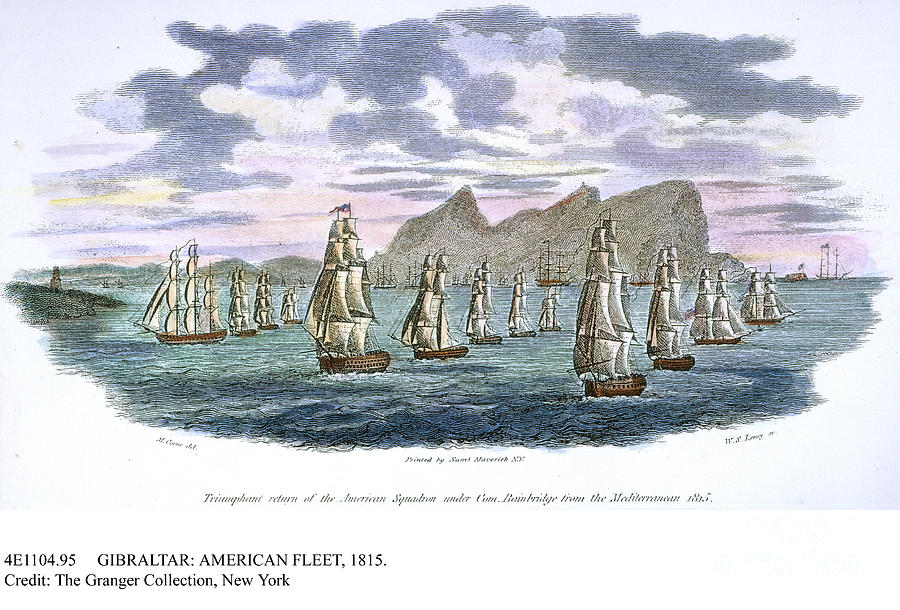 Depicts the triumphant return of the American squadron under Con. Bainbridge from the Mediterranean 1815.