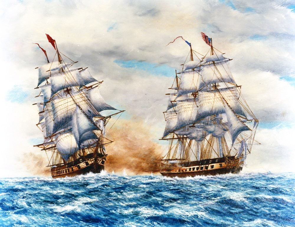 The USS Constellation vs. Algerian flagship Mashuda near Cape Gata June 17, 1815 by Arthur Dinsey.