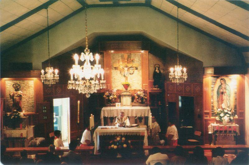 Mass being held inside the church in the 1980s