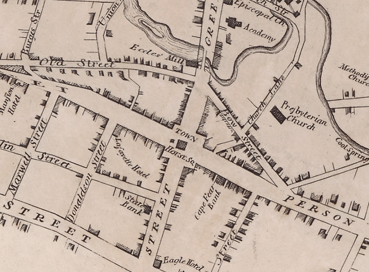 1825 map of Fayetteville showing the location of the original Lafayette Hotel.
