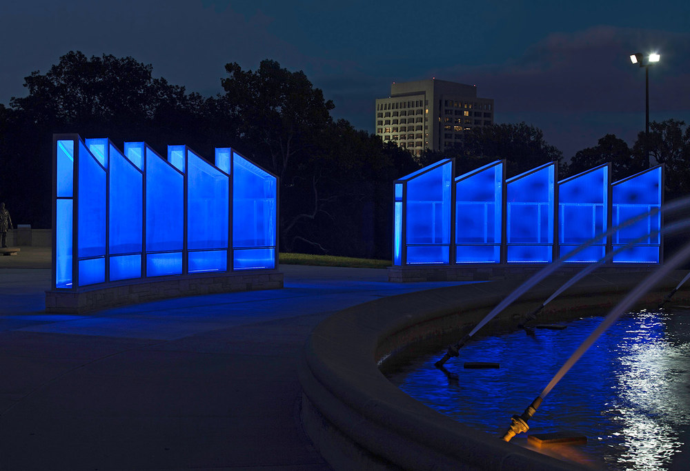 In 2015 the old memorial was supplemented by a new one, featuring illuminated walls with an updated list of fallen firefighters. Image obtained from barbaragrygutis.com.