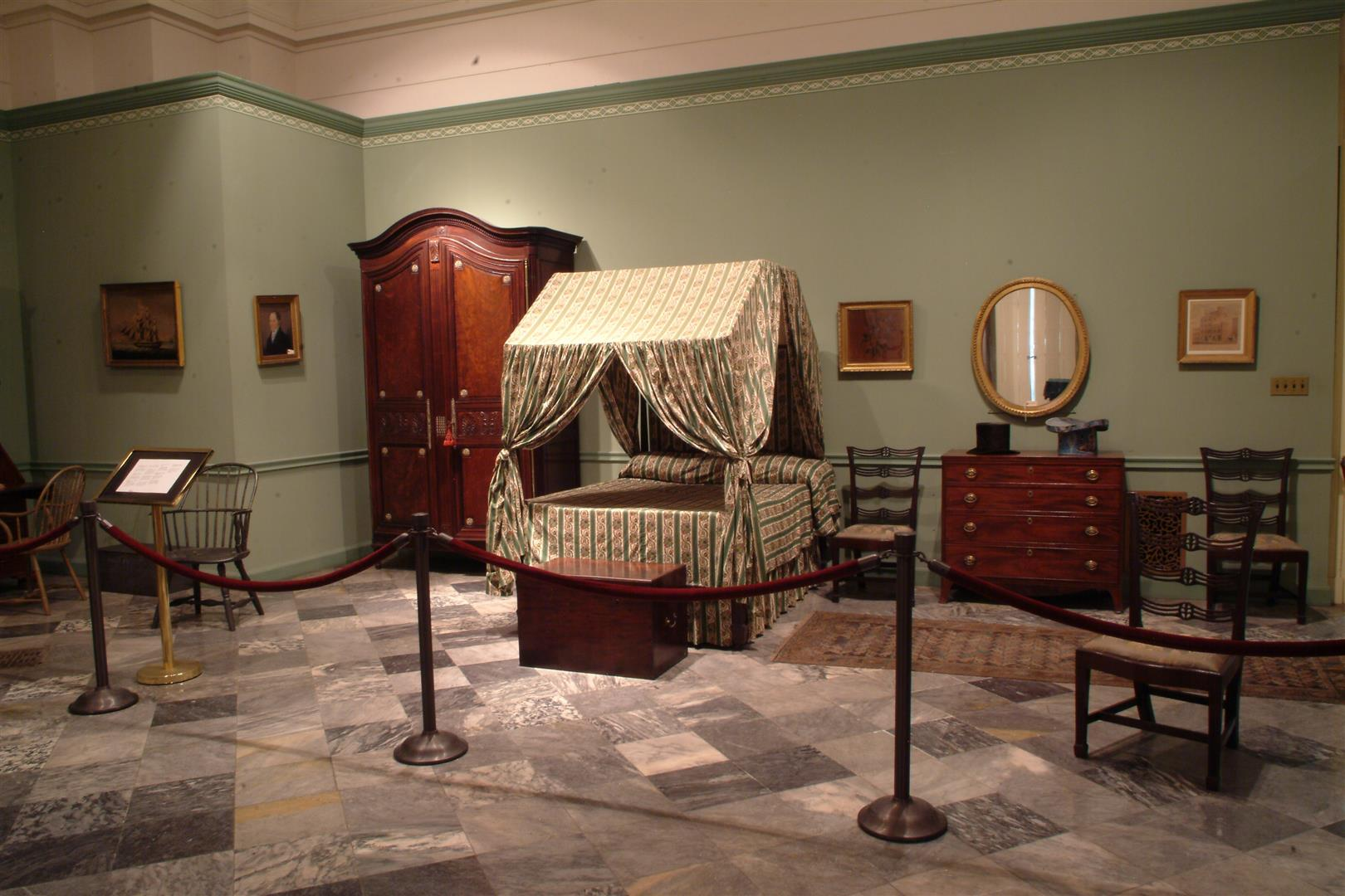Bedroom furnishings from Girard's house, installed at Founder's Hall museum