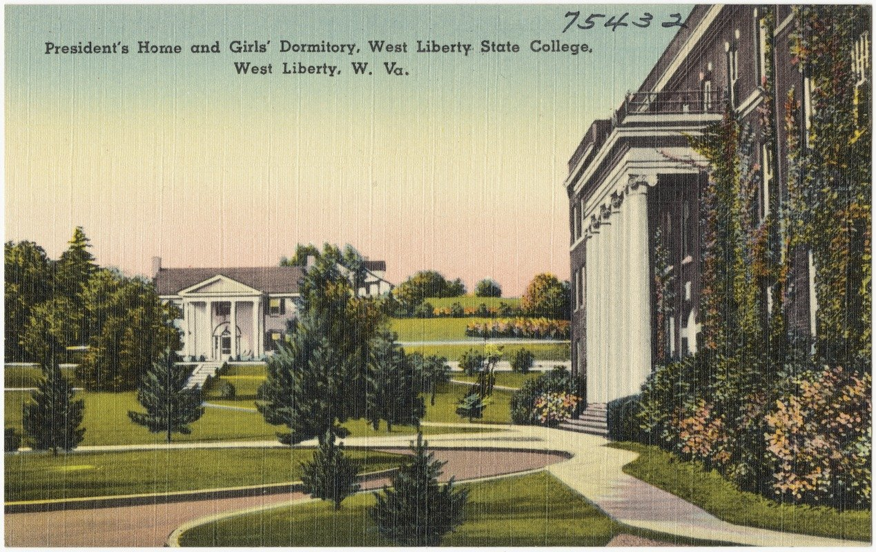 A postcard from the 1930s showing Shaw Hall (right) and the President's Mansion (center).