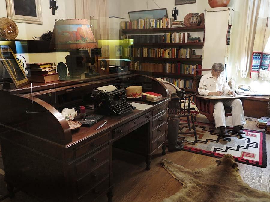 A replica of Zane Grey's study which includes a replica of Zane Grey.