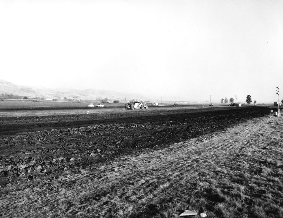 The 411-acre site of GM's Fremont Assembly being cleared and graded in 1961.