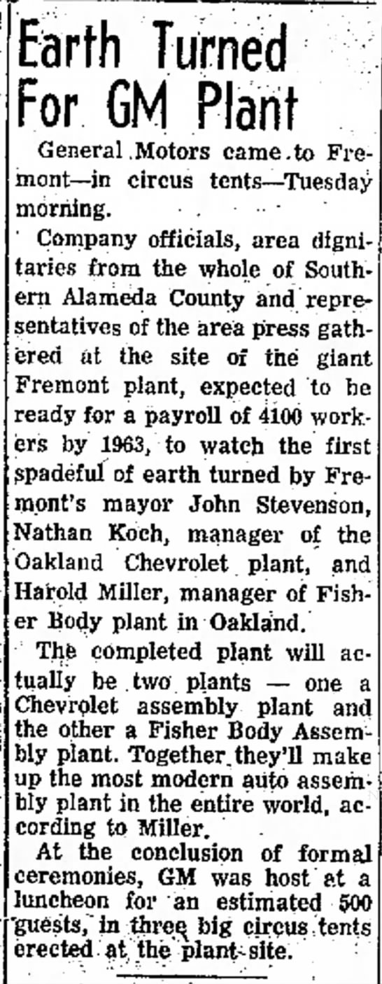 September 20, 1961. A front page article in The Argus newspaper of Alameda County detailing the groundbreaking ceremonies for the Fremont Assembly plant.