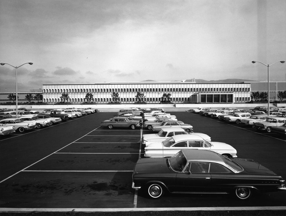 Fremont Assembly's parking lot in the 1960s. The building facade pictured still remains as part of the Tesla Factory today.
