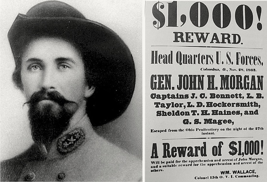 A wanted poster for Gen. Morgan as he began to gain notoriety in the North during his raid.