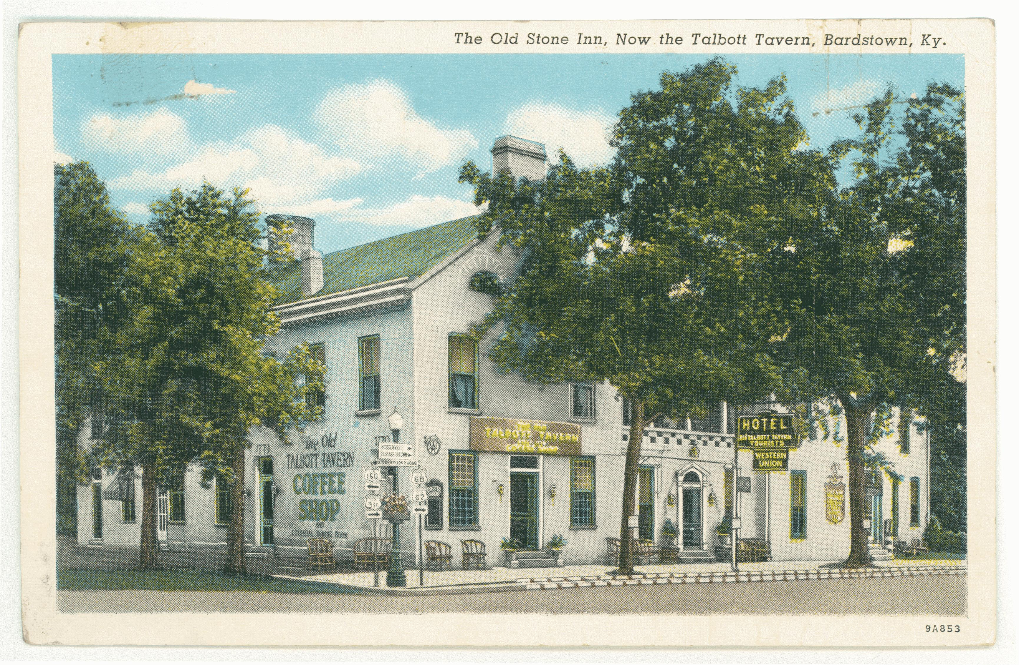 An example of what a tavern looked like during this time period. The photograph is of the Talbott Tavern in Bardstown, Kentucky.