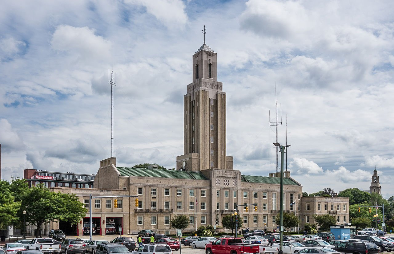 Pawtucket City Hall was built in 1935 and is listed on the National Register of Historic Places