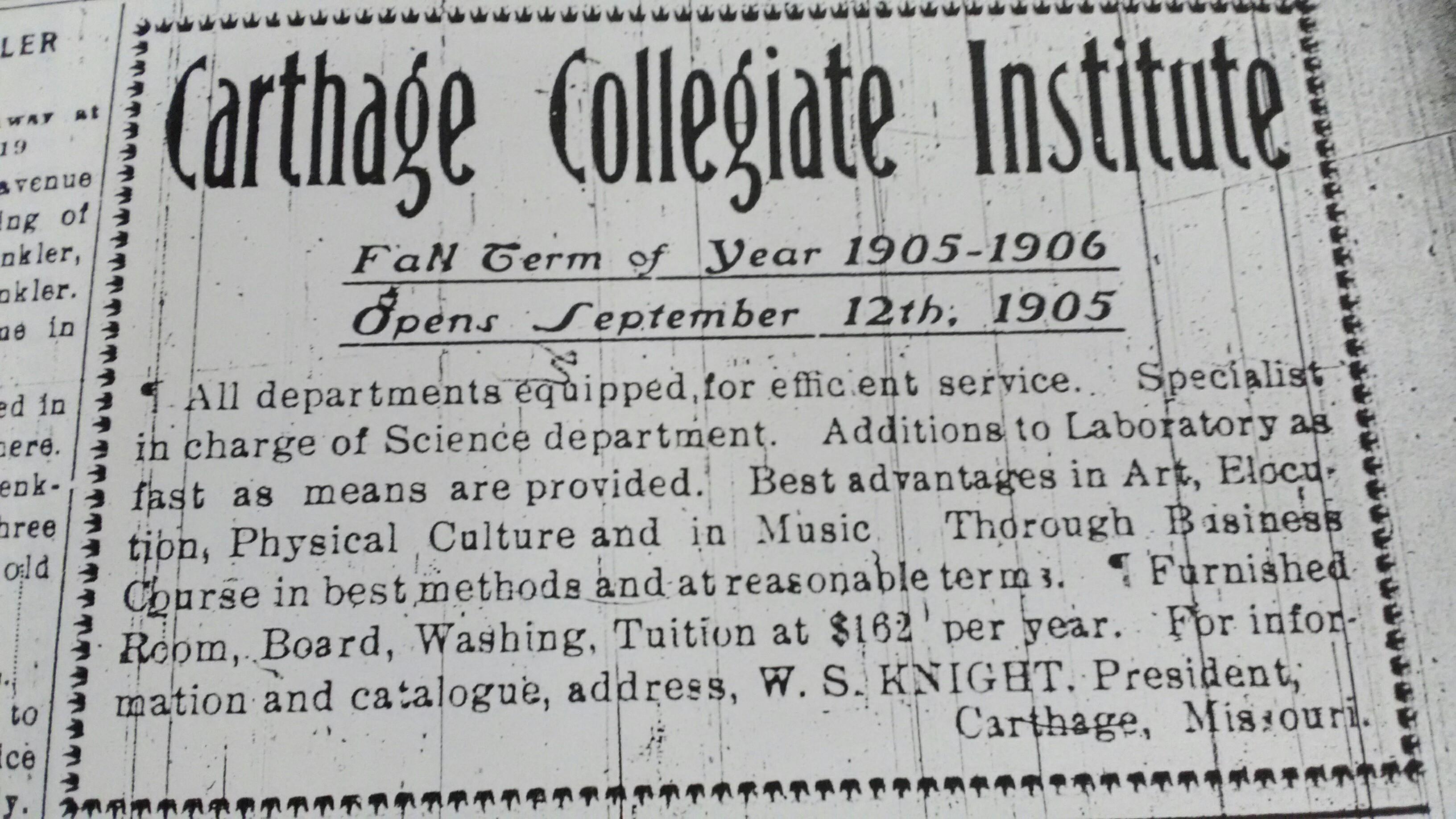1905 Advertisement for Carthage Collegiate Institute