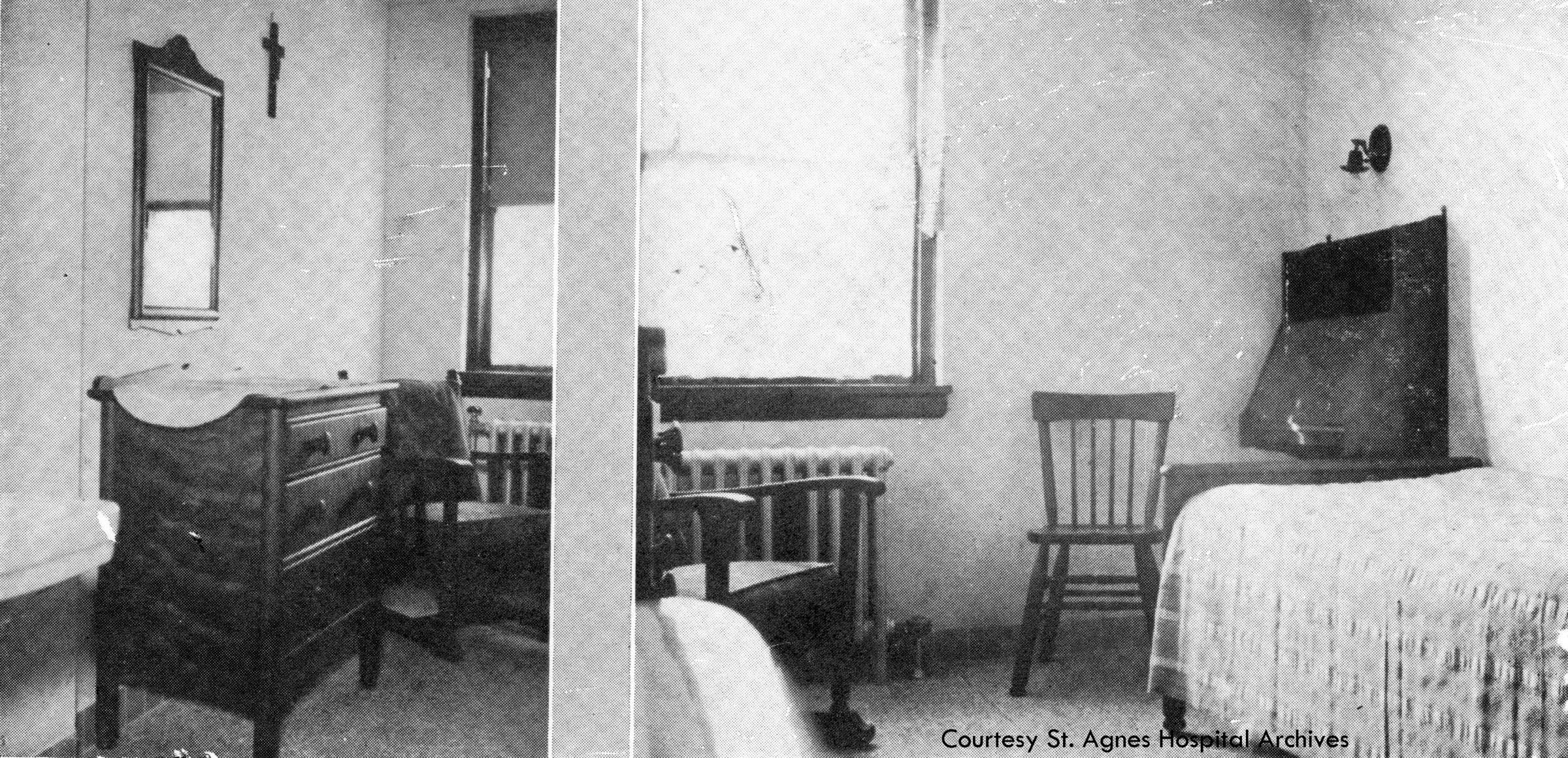 Student dorm rooms at St. Agnes School of Nursing, c. 1931.