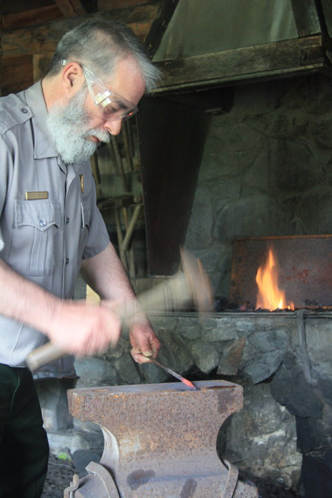 Blacksmith demonstration at Saugus (image from the National Park Service)
