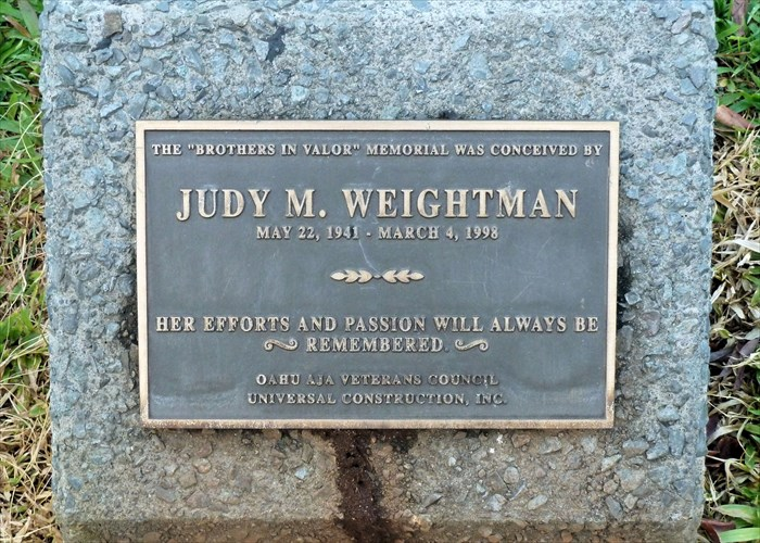 This plaque commemorates Judy M. Weightman whose work made this memorial possible.