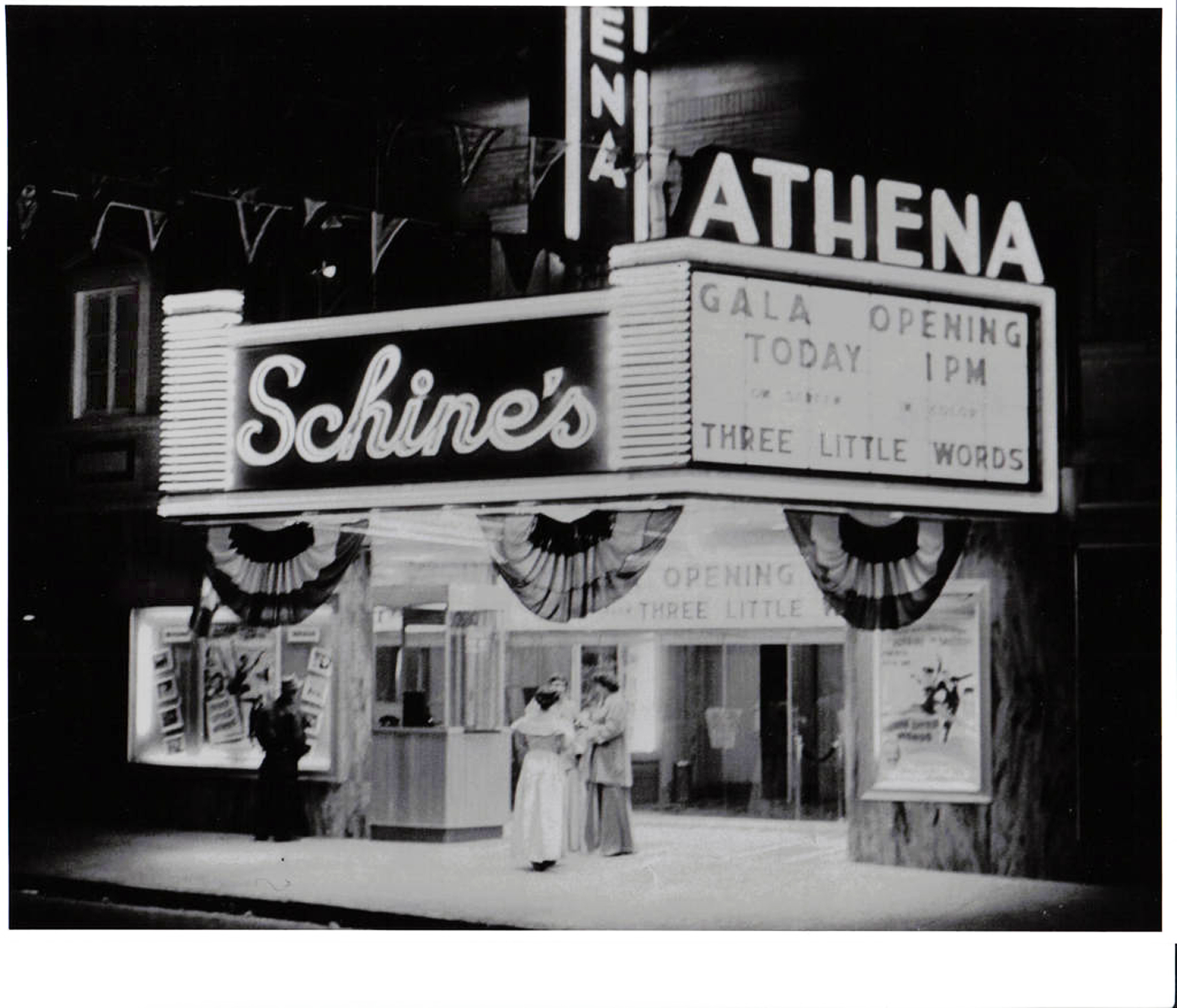 The Athena Cinema in 1950, while it was part of the Schine's theater circuit