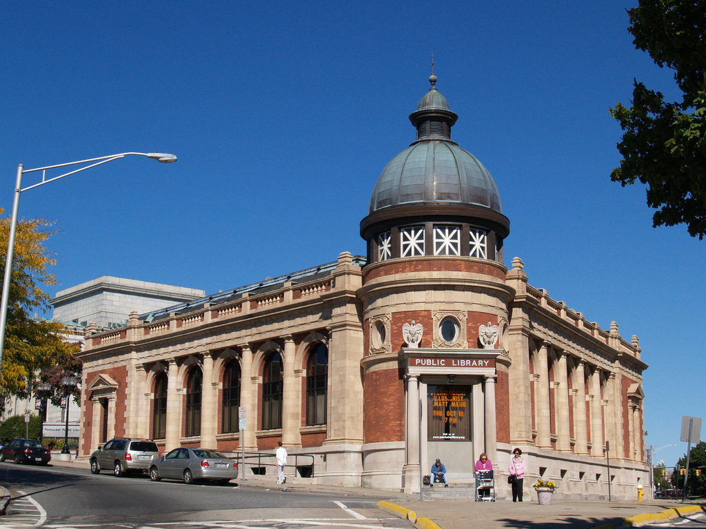 The Gerald S. Burns Building was built in 1896 as a federal post office. It is now part of the public library.