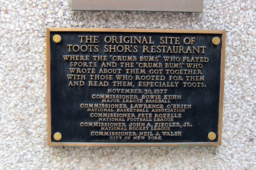 The marker on 51st Street noting the location of the original Toots Shor's Restaurant (1940-1959)
