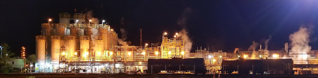 Street view of Dow Chemical running during the night. 2017