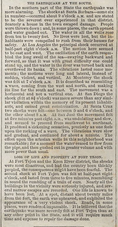 Copy of part of 1857 Harpers article on Fort Tejon Earthquake