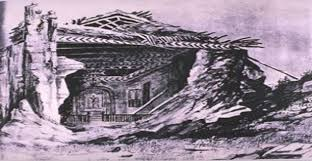 1857 sketch of building destroyed in earthquake