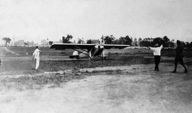 Charles Lindbergh Lands the Spirit of St. Louis at Langin Field in Moundsville. (Courtesy of WV Division of Culture and History)