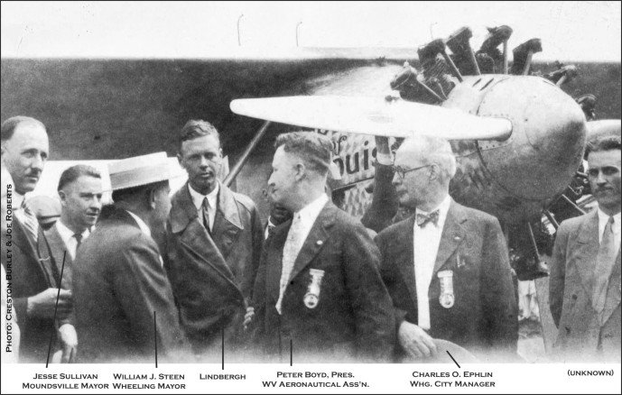 Charles Lindbergh pictured with local officials (Photo courtesy of Creston Burley and Joe Roberts)