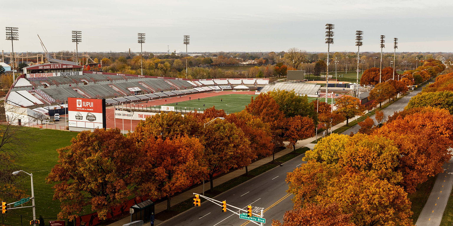 IUPUI Division of Student Affairs gives a display of Michael A. Caroll Stadium