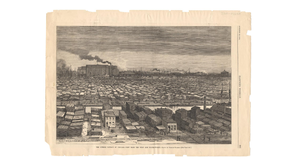 Lumber District, Chicago, 1886, looking east into the city. To zoom, see http://www.encyclopedia.chicagohistory.org/pages/3030.html