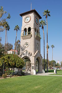 The tower was rebuilt using some of the clock's original parts in the 1960s and located a mile from its original location