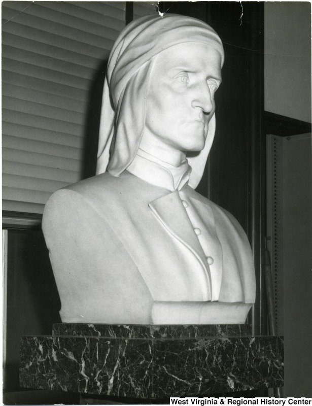 1959 photo of a commissioned Florentine bust of Dante Alighieri given as a gift from Thoney Pietro.