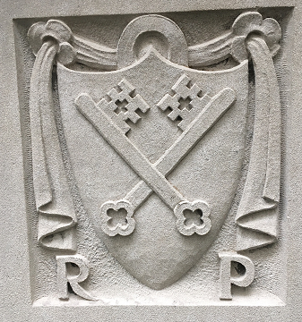 Seal of the librarian and printer Christoph Valdarfer of Milan, Italy around 1474, representing a medieval addition. Located in the atrium at the front entrance to Wise Library.
