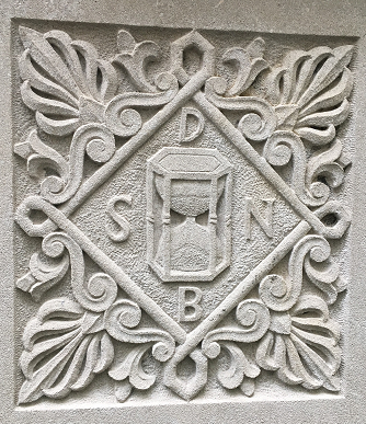 Seal of librarian Jean Saugrain of Lyons, France from about 1554-1574. Located in the atrium at the front entrance to Wise Library.