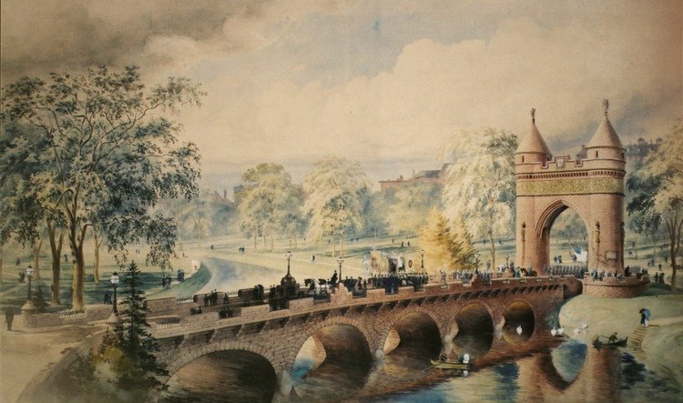 A painting of a long-vanished bridge over the long-buried Park River - and also the still-standing Soldiers and Sailors Memorial Arch.