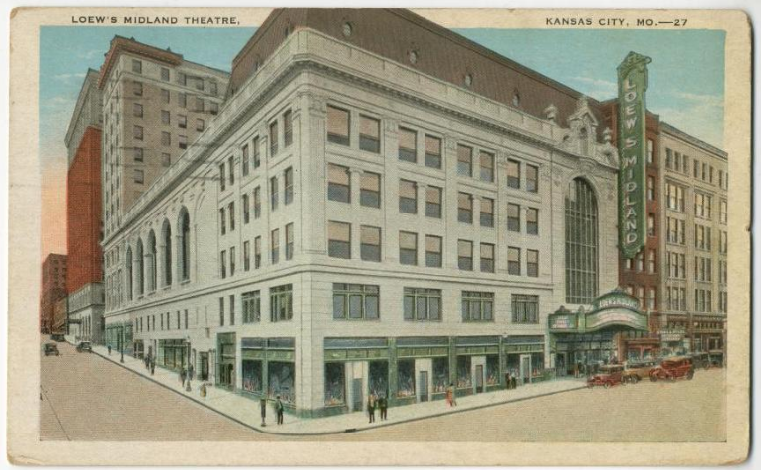 1929 postcard of the Midland, then known as Loew's Midland Theatre. Image courtesy of the Missouri Valley Special Collections.