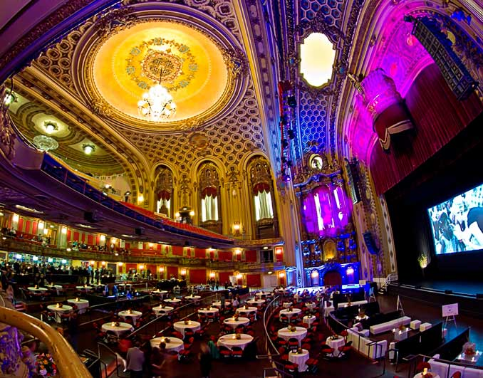 The theater underwent extensive renovations in 2008, which included the conversion of some seating space into an area for cabaret-style tables. Image obtained from Arvest Bank Theatre at The Midland.