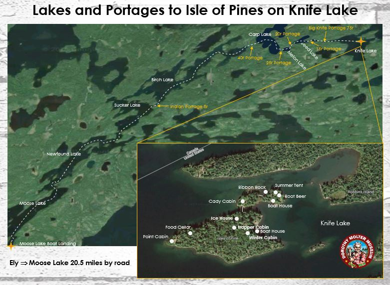 Canoe map to the Isle of Pines with historic structure locations