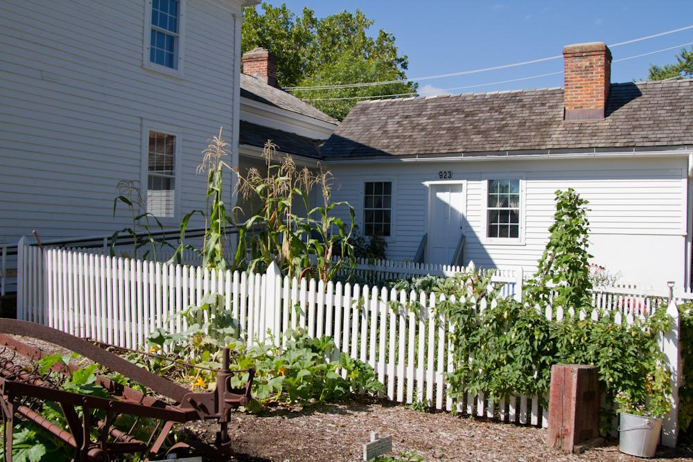 Netzley/Yender House and Garden with Yender hay rake (bottom left)