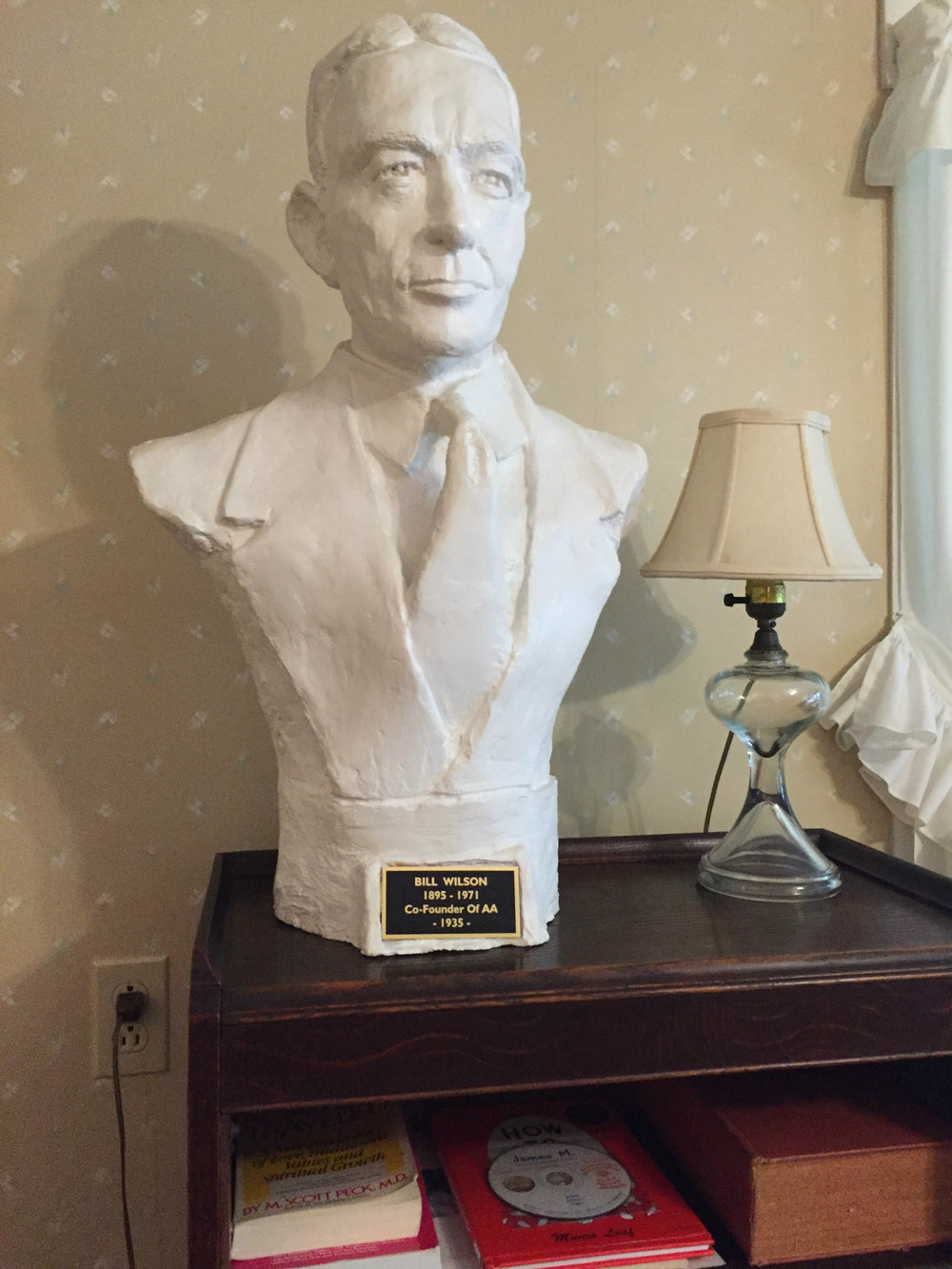 A bust of Bill Wilson located in the hotel where he was born.