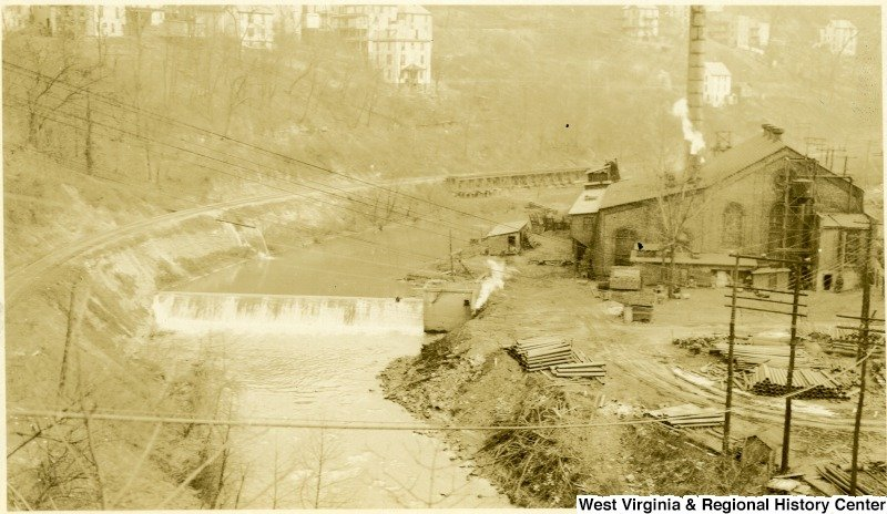 Though closed, contaminated water from Richard Mine pollutes Deckers Creek with toxic amounts of sulfuric acid and heavy metals. Friends of Deckers Creek is helping address this ecological issue. Courtesy of West Virginia and Regional History Center.