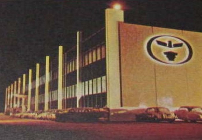 "The Continental Airlines General Offices, bearing the classic ""Eagle"" emblem, at Los Angeles International Airport as it looked when it was completed in 1963"
