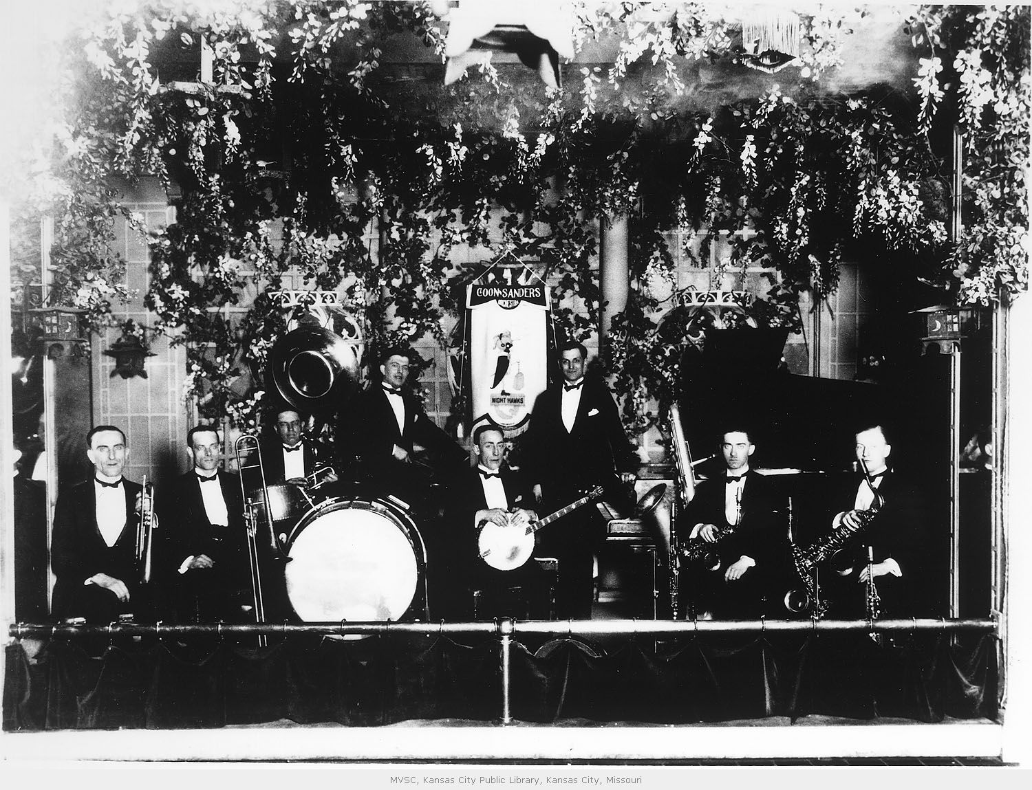 The Coon-Sanders Nighthawk Orchestra, led by Carleton Coon and Joe Sanders, gave the first band performance to be broadcast over radio in 1922. Image courtesy of the Missouri Valley Special Collections.