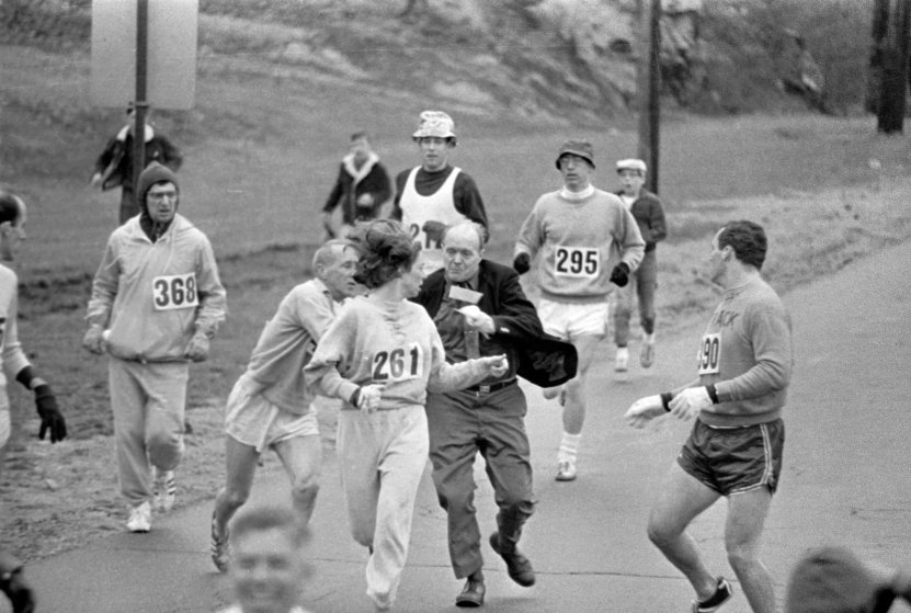 Kathy Switzer attempts and completes the Boston Marathon in 1967, a time at which women were not allowed to participate.
