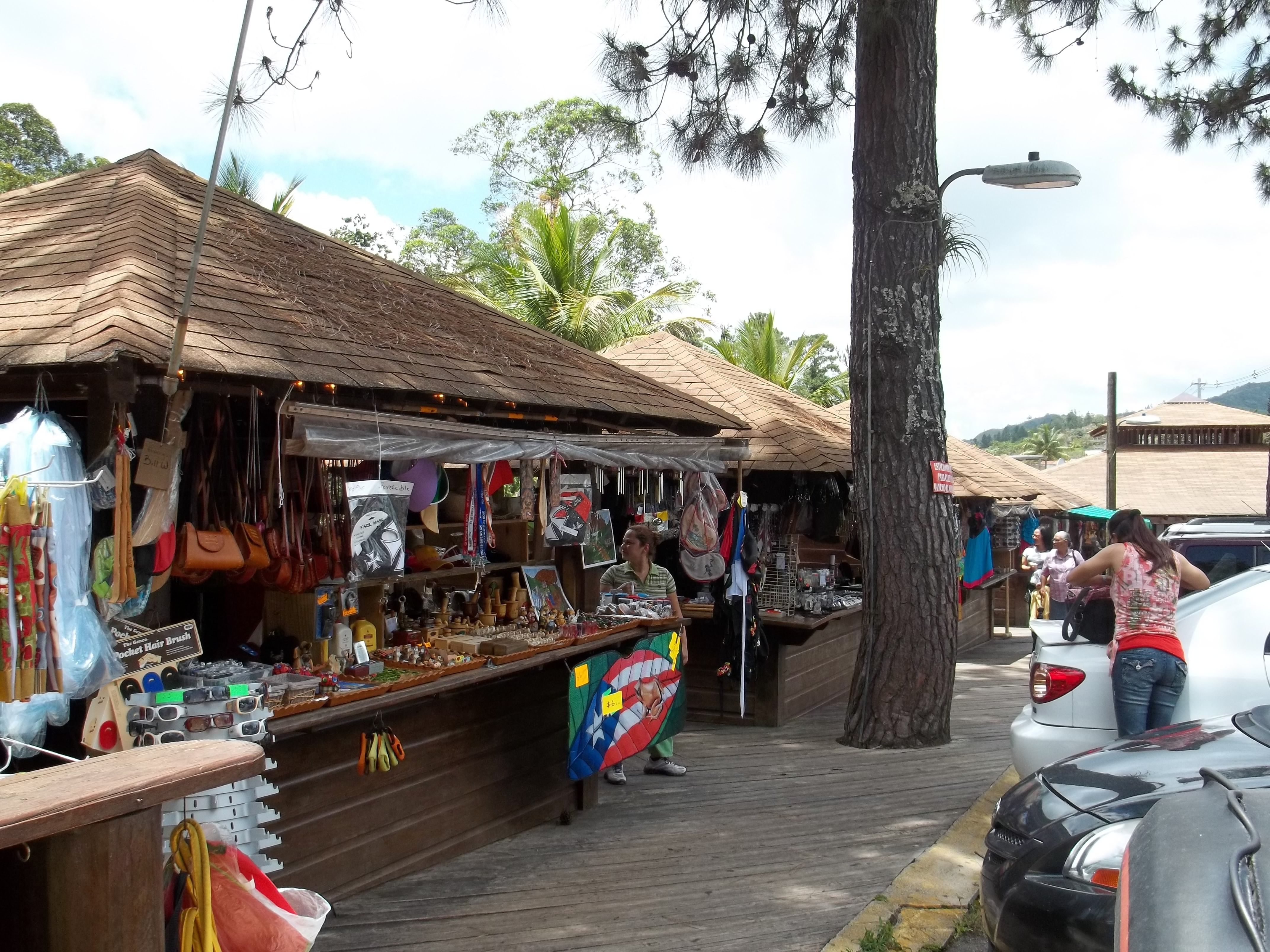 The Guavate neighborhood in Cayey also has booths  lined along the road that sell Puerto Rican souvenirs.