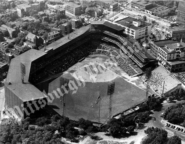 Aerial shot of Forbes Field.